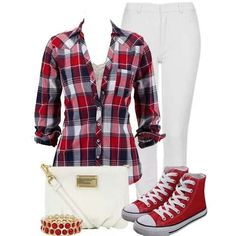 plaid with red converse