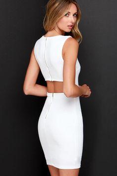 Aim to Chic Ivory Bodycon Dress