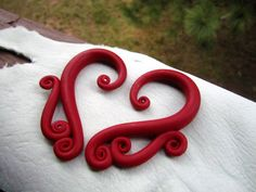 Red Polymer Clay Gauges - size 0