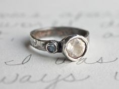 herkimer diamond engagement ring .  recycled silver diamond and aquamarine ring . custom size and handwritten secret message . free shipping. $326.00, via Etsy.