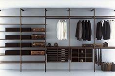 Modern Closet Organizing System : Modern Minimalist Walk In Closet System Walking Closet, Walk In Closet Diy, Walk In Wardrobe Design, Wardrobe Closet, Closet Bedroom, Closet Space, Man Closet, Closet Wall, Steel Wardrobe