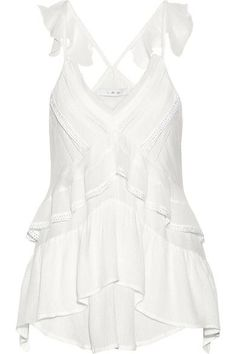 IRO - Chana Lace-trimmed Ruffled Voile Top - White - FR