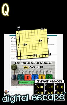 This engaging digital math escape room activity covers 5th grade math common core standard 5.G.A.1. It is an introduction to the coordinate plane's Quadrant 1. Students identify coordinates on the coordinate plane, then type a code to break out of the escape room! All puzzles are ouses in just one Google Form with no outside links, making this math escape room easy to implement. Teaching 5th Grade, 5th Grade Math, Common Core Standards, Escape Room, 5th Grades, Plane, Puzzles, Students, Coding