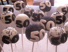 Cake Pops, 50th Birthday, Black and White, Available White or Chocolate, Individual Servings, Sold ONLY BY THE DOZEN
