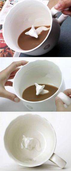 Cute Fox Figurine Ceramic Coffee Cup
