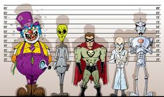 Super villains in a police lineup ,Super Villain lineup. Super villains in a police lineup , Merry Christmas Comic Vine - Gen. Christmas Comics, Merry Christmas, Monster Squad, Lineup, Scary, Police, Disney Characters, Fictional Characters, Illustration