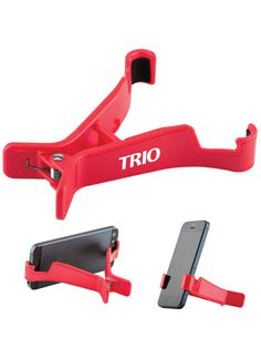 #TRIO The Clip and Hold Tablet and Phone stand adjusts to securely hold any mobile tech device with hands-free stability. Holds device in landscape or portrait mode; foam padded grippers and bonus kick-out foot for stability.
