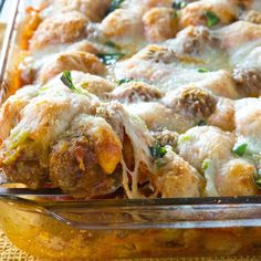 Meatball Sub Bubble-Up Bake @keyingredient #cheese #italian