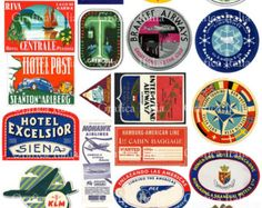 22 Travel Luggage Labels -  Retro Digital Printable Collage Sheets - Vintage Suitcase Stickers - Instant Download - 006