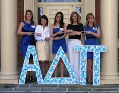Not sure what's prettier- the girls or the letters!! :) [Love these Lilly Pulitzer letters from Eta Epsilon-Miami!]
