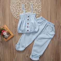 Cheap girls summer, Buy Quality kids girls outfits directly from China kids outfits girls Suppliers: 2017 New Lovely Child Toddler Kid Girl Summer Sleeveless Top T-shirt Pants Clothes Jumpsuit Outfits Baby Girl Dress Patterns, Dresses Kids Girl, Kids Outfits Girls, Girl Outfits, Baby Girl Fashion, Kids Fashion, Style Fashion, Baby Frocks Designs, Cute Baby Clothes