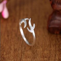 Christmas Gift 925 Sterling Silver Rings for Women Refinement Smooth Antlers Wedding Ring Open Jewelry Bague Femme Anillos Mujer