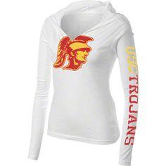 USC Trojans Women's White Hooded Long Sleeve T-Shirt
