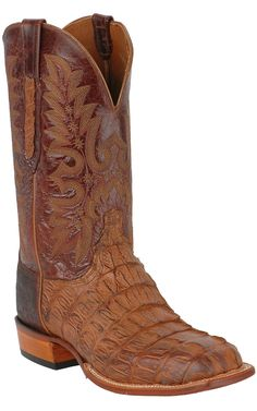 Lucchese® Cowboy Collection™ Men's Natural Burnish Hornback Exotic Square Toe Boot | Cavender's Boot City