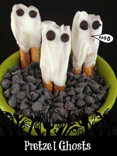 Pretzel Ghosts.  Definitely gonna make these...Em girl will have a blast!