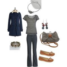 Navy and Camel-- love the purse.