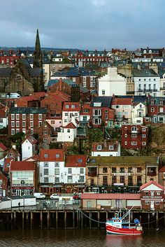 A sea view of  Whitby, Scarborough, North Yorkshire:  The earliest record of a permanent settlement is in 656.