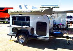 The BundutecUSA Trekken, a super-simple, lightweight semi-teardrop-style expedition trailer, was one of the creations on display...