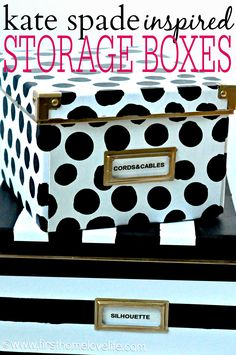 DIY Kate Spade inspired storage boxes to hide away all of those loose office items!