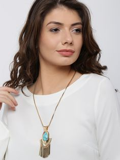 DressBerry Gold-Toned & Green Stone-Studded Matinee Necklace