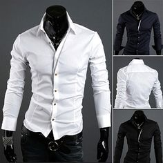 Tailored Long Sleeve Collared Shirt with Brown Buttons  . Shop Now At  http://sneakoutfitters.com/collections/new-in/products/ao-cbcm-hb-9087-so38