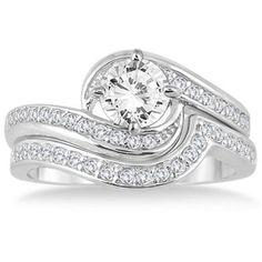 New Bridal Set 1.5ct D/VVS1 Diamond 14k White Gold Engagement Wedding Ring #Jewelsbyeanda