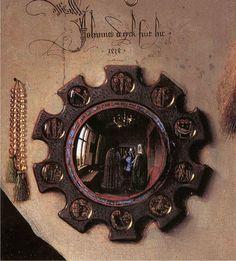 The Arnolfini Portrait (detail) 1434 -- Jan van Eyck -- Flemish -- The National Gallery -- London, England Arnolfini Portrait, Ghent Altarpiece, National Gallery, Convex Mirror, Spiritus, European Paintings, Small Paintings, Tempera, Renaissance Art