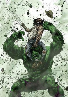 #Hulk #Fan #Art. (HULK vs WOLVERINE) By: Guiu Vilanova.