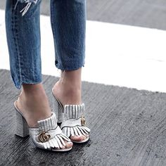 Style trend: open-toed frilled loafers