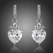 Valentine's Day Gift Heart Clear Shape AAA Swiss Cubic Zirconia Drop Earrings