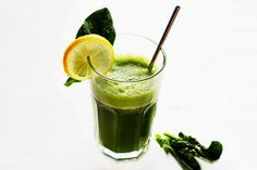 Detox smoothie? 1 1/4 cups pineapple juice, lemon juice, handful of spinach, and 1/4 tsp grated ginger