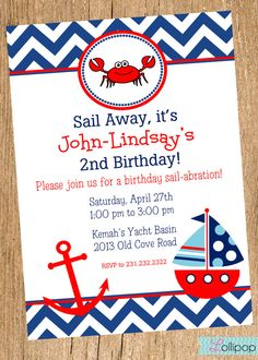 CRAB Printable Invitation Personalized Nautical by LollipopInk, $13.50