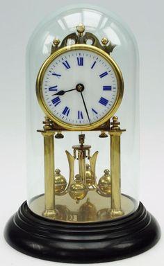 Rare Unusual 19thc Antique Brass & Glass 400 Day German Torsion Mantel Clock Art Nouveau, Art Deco, Anniversary Clock, Antique Brass, German, Glass, Home Decor, Deutsch, Decoration Home