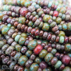 Aged Striped 6/0 - 4/0 Czech Glass Rocaille Seed Beads - Central Coast Charms