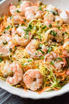 Lemon Garlic Shrimp and Spiralizer Veggie Pasta