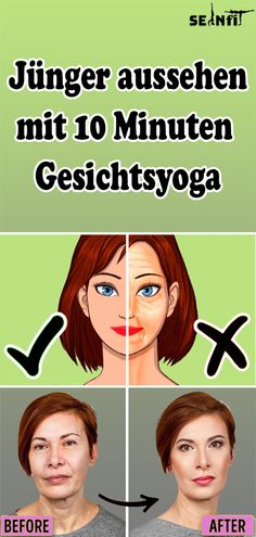 Jünger aussehen mit 10 Minuten Gesichtsyoga Look younger with 10 minutes of facial yoga Yoga Facial, Facial Muscles, Afro, Morning Yoga Sequences, Flat Tummy Workout, Health Words, Beauty Lounge, Fitness Magazine, Lip Plumper