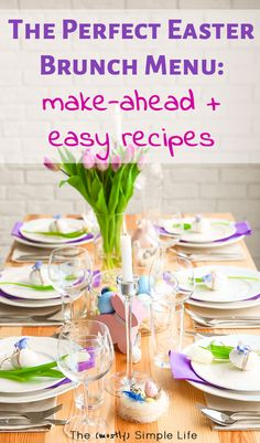 These easy Easter brunch recipes look so good! And most of them are make ahead. This menu has everything: eggs, french toast, punch, dessert, and ham. And it's all simple food. via Brunch Easy + Make Ahead Easter Brunch Recipes Make Ahead Brunch Recipes, Vegan Brunch Recipes, Healthy Brunch, Easter Brunch Menu, Brunch Buffet, Brunch Food, Easter Dinner, Easter Food, Easter Snacks