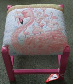 Applique Flamingo Footstool by Bumbletextiledesigns on Etsy, Flamingo Craft, Flamingo Gifts, Flamingo Decor, Flamingo Party, Pink Flamingos, Flamingo Garden, Pink Bird, Pink Feathers, Funky Furniture