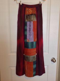 Vintage KUSNADI 90s SKIRT Sz S Long Batik Boho split patchwork Maxi Burgundy #Kusnadi #PeasantBoho