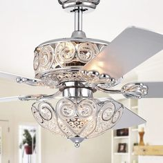 Shop for Catalina Chrome-Finish Crystal Ceiling Fan Optional Remote (Incl 2 Blade Colors). Get free delivery at Overstock - Your Online Ceiling Fans & Accessories Store! Get in rewards with Club O! Ceiling Fan Chandelier, Silver Chandelier, Ceiling Lights, Ceiling Decor, Crystal Chandeliers, Bedroom Ceiling, Ceiling Tiles, Ceiling Pendant, Pendant Lights