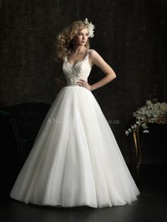 Floor Length Lace & Tulle Ball Gown Straps Wedding Gowns With Buttons
