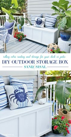 This rolling DIY Outdoor Storage Box and Bench will add extra seating and storage to your deck or patio. Full detailed plans are included. It is designed to be made out of one sheet of plywood! #diy #storagebox #storage #outdoorfurniture #outdoorliving #woodworkingplans #woodworkingprojects
