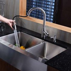 Add a touch of elegance to your kitchen with a Kraus farmhouse apron sink!