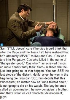 "S09E11, ""First Born.""---A description of Castiel's transformation over the years. :)"