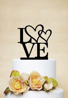 Acrylic Love Wedding Cake Topper Custom Wedding Cake Topper by AcrylicDesignForYou