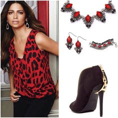 Inc International Concepts Red animal print top City- leopard V- neckline top with surplice draped overlay, relaxed fit, perfect top over black pants or skirt...Jewelry and boots also available, bundle up and save 15%... INC International Concepts Tops Blouses