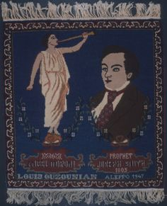 The Angel Moroni and the prophet Joseph Smith as depicted on a rug designed and woven by the Armenian Mormon Louis Ouzounian in 1947