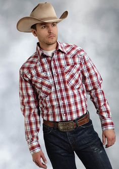 Roper® Men's Red Vermillion Check Long Sleeve Pearl Snap Western Shirt