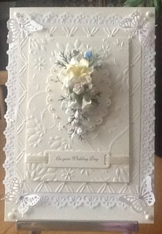 A wedding card Wedding Day Cards, Wedding Cards Handmade, Wedding Anniversary Cards, Beautiful Handmade Cards, Greeting Cards Handmade, Pretty Cards, Love Cards, Spellbinders Cards, Engagement Cards