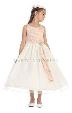 D0303 Satin Pleated Top with Organza Skirt Dress (5 Diff. Colors)